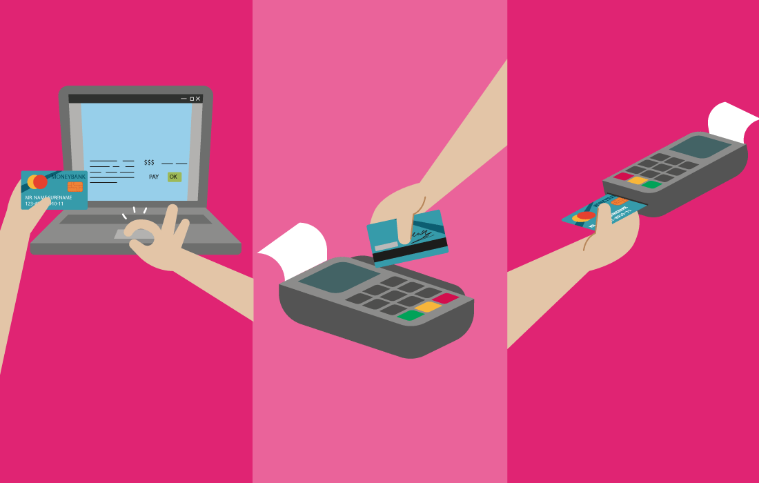 Color blocks with illustration of credit card payment methods